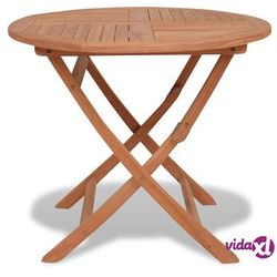 Vidaxl składany stół ogrodowy z drewna tekowego, okrągły, 85x76 cm