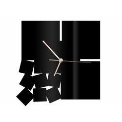 Zegar z pleksi na ścianę Kwadratowy ze złotymi wskazówkami, kolor czarny