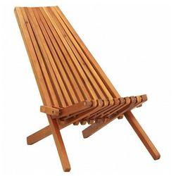 Drewniane krzesło ogrodowe derek 2x - brązowe marki Elior