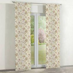 Dekoria zasłony panelowe 2 szt., różowo-fioletowe kwiaty na lnianym tle, 60 x 260 cm, londres