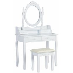 Toaletka kosmetyczna, biurko, duże lustro, stołek, 136 cm marki Modernhome