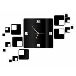 Zegar z pleksi na ścianę z kwadratami ze złotymi wskazówkami