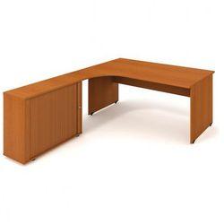 Biurko ergonomiczne UNI z szafką - długość 1800 mm, prawe, czereśnia