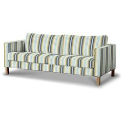 Dekoria Pokrowiec na sofę Karlstad 3-osobową nierozkładaną, krótki, niebieskie pasy, Sofa Karlstad 3-osobowa, Mirella