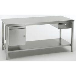 Unbekannt Stół warsztatowy ze stali szlachetnej, wys. robocza 840 mm, szer. x głęb. 1500x7
