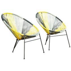 Vente-unique Zestaw 2 krzeseł ogrodowych alios ii z technorattanu – kolor żółty, szary, czarny