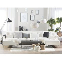 Beliani Sofa rozkładana podkowa skóra ekologiczna biała aberdeen