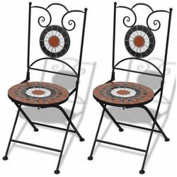 Zestaw ceramicznych krzeseł ogrodowych Leah - brązowo-biały