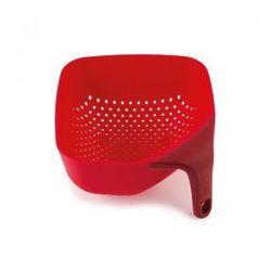 Mały, kwadratowy durszlak z silikonową rączką JJ 40049 czerwony Plus z kategorii Durszlaki, cedzaki i sitka