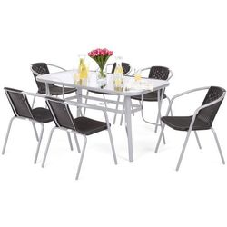 Home&garden Meble ogrodowe metalowe toscana summer basic silver / black 6+1