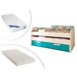 Vente-unique Wysuwane łóżko anselme – 2 szuflady – 90 × 190 cm – kolor niebieski, materac wysuwany oraz materac zeus 90 × 190 cm