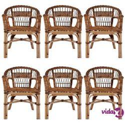Vidaxl krzesła ogrodowe, 6 szt., naturalny rattan, brązowe (8718475732624)
