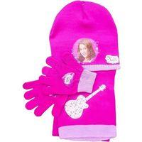 Licencja - disney Komplet- czapka, szalik i rękawiczki z postaciami z filmu violetta