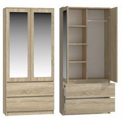 Szafa do sypialni, drzwi, lustra, 2 szuflady, 90, dąb sonoma