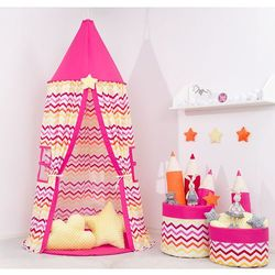 Namiot wiszący z matą zygzak czerwono-żółty / ciemny róż marki Mamo-tato