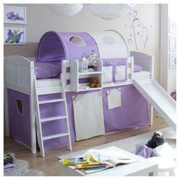 Ticaa kindermöbel Ticaa łóżko ze zjeżdżalnią ekki sosna white country kolor fioletowy/beżowy