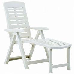 Składany leżak ogrodowy biały - foros marki Elior