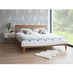 Łóżko jasnobrązowe - 160x200 cm - drewniane - ze stelażem - CAEN, kolor brązowy