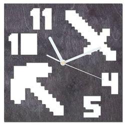 Drewniany zegar na ścianę Piksele z białymi wskazówkami (5907509933080)
