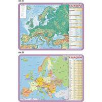 Podkładka edukacyjna. Europa - mapa ogólnogeograficzna i polityczna