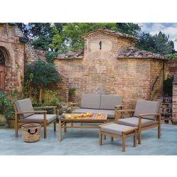 Meble ogrodowe jasnobrązowe - stół + 2 fotele + ławka + hoker - MANILA