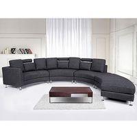 Półokrągła sofa tapicerowana - kanapa szara - tkanina obiciowa - ROTUNDE