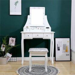 Toaletka kosmetyczna z lustrem - iza - biała + taboret marki Meblin