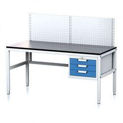 Stół warsztatowy mechanic ii z panelem perforowanym, 1600 x 700 x 745-985 mm, 3 kontenery szufladowe, szary/niebieski marki B2b partner