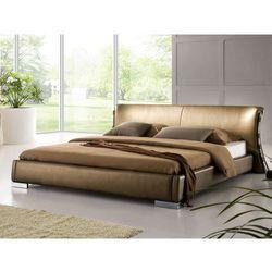 Nowoczesne łóżko ze skóry 160x200 cm ze stelażem stare złoto - PARIS, kup u jednego z partnerów