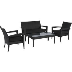 Pure garden & living Zestaw technoratanowy relaks czarny ze stolikiem dobrebaseny (4895141317294)