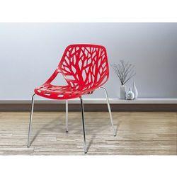 Beliani Krzesło ogrodowe - plastikowe czerwone - chromowane nogi - bleeker (7081456276037)