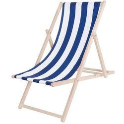 Leżak drewniany lakierowany niebieskie pasy