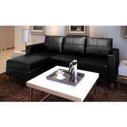 skórzana, czarna sofa wyprodukowany przez Vidaxl
