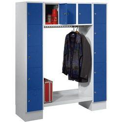 Eugen wolf Szafa na garderobę, otwarta, wys. x szer. całk.: 1850x1500 mm, 13 półek, niebies
