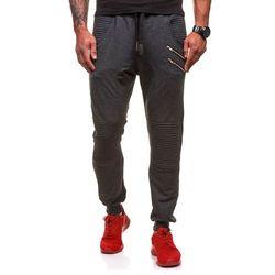 Antracytowe spodnie dresowe baggy męskie Denley 0476 - ANTRACYTOWY