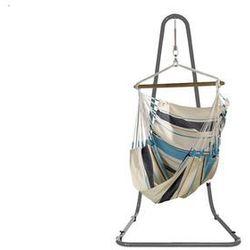 Zestaw hamakowy: fotel hamakowy Caribena ze stojakiem Mediterraneo, niebiesko-biały CIC14MEA12