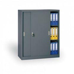 Metalowa szafa z przesuwnymi drzwiami, 1200 x 1200 x 450 mm, ciemnoszary marki B2b partner