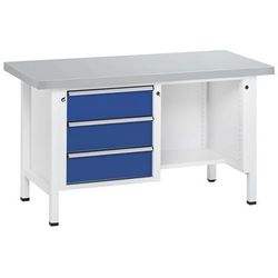 Stół warsztatowy, stabilny, 3 szuflady, ½ blatu, okładzina z blachy stalowej, cz