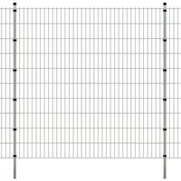 vidaXL Panele ogrodzeniowe 2D z słupkami - 2008x2030 mm 32 m Srebrne