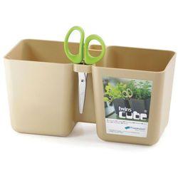 Doniczka na zioła Twins Cube - Prosperplast (Kolor: Kawa z mlekiem) z kategorii Doniczki i podstawki