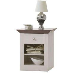 Romantyczna szafka nocna monaco sosna bielona/stone - lite drewno ||biały marki Steens
