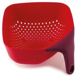 Średni, kwadratowy durszlak z silikonową rączką JJ 40060 czerwony Plus, B3 40060