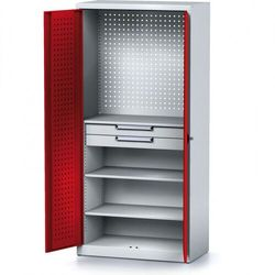 Szafa warsztatowa mechanic, 1950 x 920 x 500 mm, 3 półki, 2 szuflady, czerwone drzwi marki Alfa 3