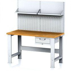 B2b partner Stół warsztatowy mechanic z nadstawką i półką, 1500x700x700-1055 mm, nogi regulowane, 1x 1 szufladowy kontener, szary/szary