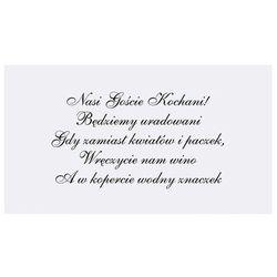Wkładki do zaproszeń ślubnych biały 1op Ślub Wesel