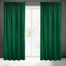 Zasłona welwetowa Pierre Cardin 140x270 Eurofirany Sibel ciemno zielona zaciemniająca