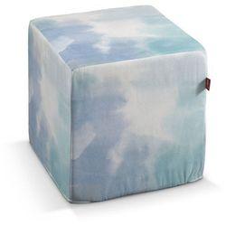 pufa kostka twarda, niebieski w różnych odcieniach, 40x40x40 cm, aquarelle marki Dekoria