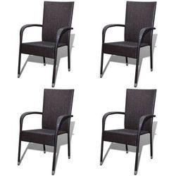krzesło ogrodowe, 4 szt., rattan pe, brązowe (2x42487) marki Vidaxl