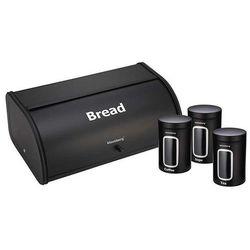 Kinghoff Chlebak /pojemnik na chleb z zestawem pojemników czarny
