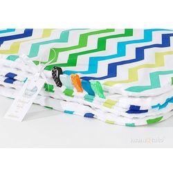MAMO-TATO Komplet kocyk Minky do wózka + poduszka Zygzak niebiesko-zielony / biały